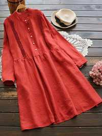 Vintage Crew Neck Long Sleeve Button Pleated Shirt Dress