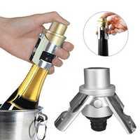 2Pcs Stainless Steel Champagne Stopper Sparkling Wine Bottle Plug Sealer Saver Wine Stopper