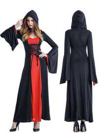 Halloween Women Court Vampire Witch Costume Dress with Headwear