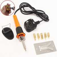 220V 30W Wood Burning Pen Soldering Set Pyrography Tool Kit CE Spare Brass Tips