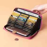 Brenice Women 36 Card Slots Fashion Pure Color Large Capacity Zipper Purse Long Wallet