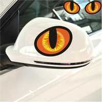 3D Evil Cat Eyes Car Rearview Mirror Stickers PVC Funny Look Window Decal Accessories