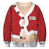 Men's 3D Print Christmas Fashion Belly Pullover Sweatshirt