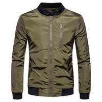 Men Fashion Casual Zipper Baseball Collar Bomber Jacket