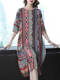 3/4 Sleeve Floral Silk Vintage Dress