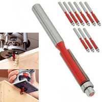 10pcs 1/4 Inch End Dual Flute Wood Edge Flush Trim Router Bit Bearing Cutter