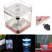 LED Mini USB Square Humidifier Office Home Car Lamp Essential Oil Light Air Purifier Aroma Therapy Diffuser