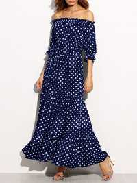 Women Loose Off Shoulder Polka Dot Half Sleeve Dress