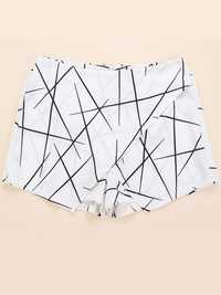 Casual Women Geometric Printed High Waist High Low Shorts