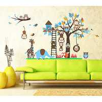 Children Room Removable Wallpaper Owl Monkeys Tree Art DIY Kindergarten Stickers Decal Decoration