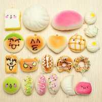 20Pcs Random Squishy Soft Panda/Bread/Cake/Buns Phone Straps