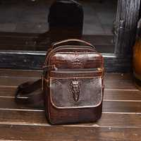 Men Genuine Leather Crocodile Pattern Crossbody Bag