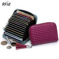 Women RFID Genuine Leather 16 Card Slots Wallet Card Holder