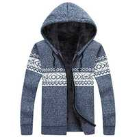 Male Fashion Winter Warm Hooded Sweater Thick Jacquard Cashmere Cardigan Sweater Coat