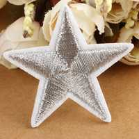 4.1x4cm Cloth Shoes Hats Bags Embroidered Star Patch Cloth Paste Silver Five Star Applique