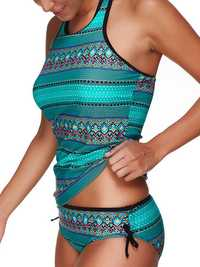 Elastic Printed Backless Two Piece Set Tankinis