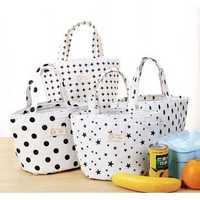 KCASA KC-CB03 Cotton Linen Lunch Tote Bag Drawstring Portable Travel Picnic Cooler Insulated Handbag