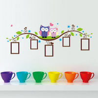 Owl Tree Branch Frame Wall Sticker Living Room Home Decoration Creative Decal DIY Mural Wall Art