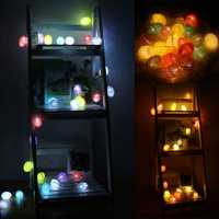 Battery Power 1.8/3.3/4.8M LED Vintage Cotton Ball Fairy Party String Light Christmas Home Decor