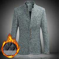 Mens Plus Size Thickened Warm Stand Collar Stylish Blazer Ja