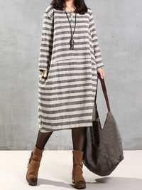 Women Striped V Neck Long Sleeve Kaftan Dress