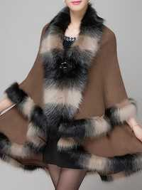 Faux Fur Collar Shawl Cape Coat