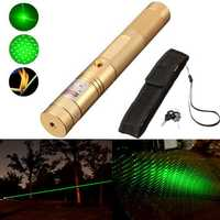 532nm Adjustable Zoomable Green Laser Pointer 10 Miles Powerfull Burning Laser Pen Laser Flashight + Holster