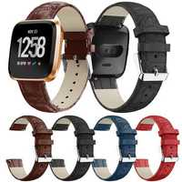 22mm Crocodile Leather Watch Band For Fitbit Versa