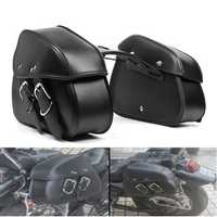 Motorcycle PU Leather Saddlebags Waterproof Saddle Swing Arm Bag Left Right