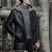 Mens Mid Long Winter Thick Hoo Faux Leather Shearling Coat