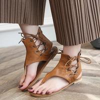 US Size 5-12 Roman Sandals Lace Up Strap Flat Shoes