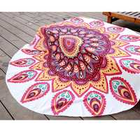 145cm Red Fish Print Thin Chiffon Beach Yoga Towel Mandala Round Tablecloth Bed Sheet Tapestry