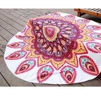 145cm Red Fish Print Thin Chiffon Beach Yoga Towel Mandala Round Tablecloth Bed Sheet Tapestry