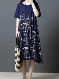 Vintage Short Sleeve Print Patchwork Mid-long Dress