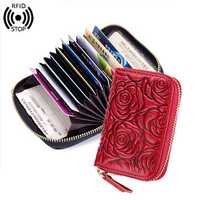 RFID Women Genuine Leather Wallet Card Holder Coin Purse
