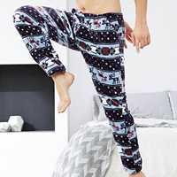 Winter Warm Fannel Fleece Pajamas Thermal Sleepwear Pants