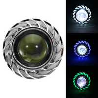 Double Color Round 8000K 30W High/Low Beam LED Headlights For Motorcycle Angel Eyes Devil Eye Light