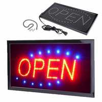 Animated Motion Running LED Business OPEN SIGN +On/Off Switch Bright Light Neon AC220V