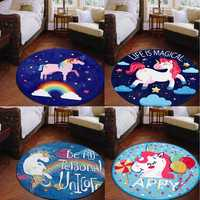 80 x 80cm Unicorn Fairy Flannel Yoga Floor Mat Rugs Bathmat Round Area Rug Non-slip