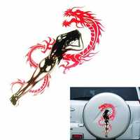 Reflective Car Sticker Red Dragon Black Sexy Girl Beauty Engine Hood Decal 40cm*21cm