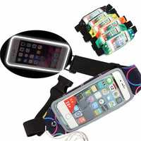Sport Colorful Adjustable Waist Belt Reflective Stripe Waterproof Waist Bag for Phone Under 5.5-inch
