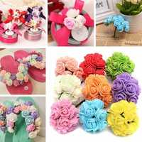 12PCS Bride Bouquet Paper Rose Flowers With Wire Stems Wedding Home Party Decoration