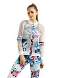 Women Sport Flower Printed Patchwork Hollow Suntan-proof Wear Jacket