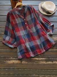 Women Casual Plaid V-Neck 3/4 Sleeve T-Shirts