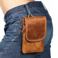 Men Genuine Leather Vintage Waist Bag Phone Bag