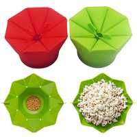 Popcorn Popper Maker DIY Silicone Popcorn Maker Fold Bucket Red Kitchen Storage Container