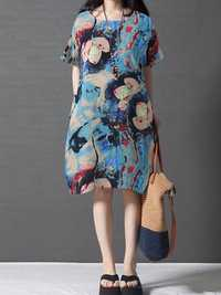 Floral Print Short Sleeve Mini Dresses