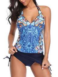 Split Retro Suspender Skirt Tankinis Swimsuits For Women