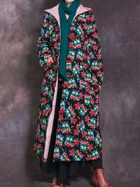 Vintage Floral Print Frog Button Hooded Winter Long Coats