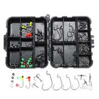 ZANLURE 150PCS Fishing Accessories Kits Jig Head Hooks Sinker Swivels Snap Beads Tackle With Box
